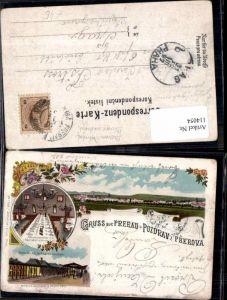 114054,Tolle Litho Gruss aus Pozdrav Prerau Prerova Prerov Bahnhof Restauration Bahnhof 1897