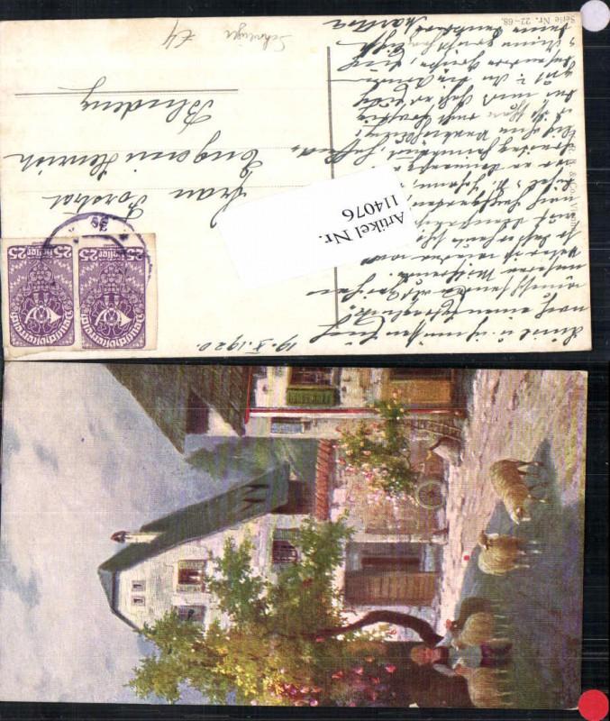 114076,L. Schweiger Schafe m. Kind im Dorf