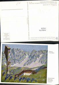 116258,Dennoch Künstlerkarte 363 Feldkreuz in den Alpen Arnulf Erich Stegmann sign