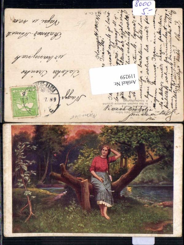 119259,Frau m. Zopf Frisur und Sichel A. Gareis im kühlen Wiesengrunde