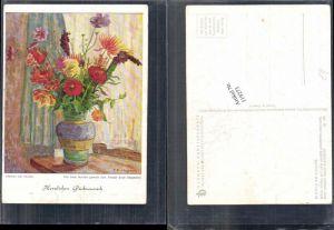 119273,Dennoch Karte 398 Blumen am Fenster Arnulf Erich Stegmann mundgemalt