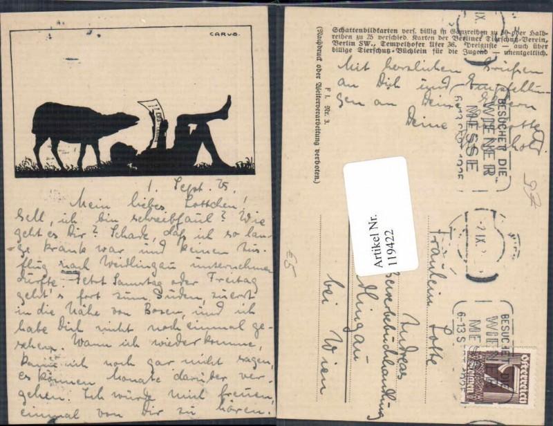 119422,Scherenschnitt Silhouette Carus sign. Schaf