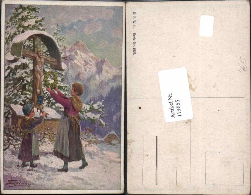 119655,L. Schweiger Kinder am Wegkreuz Kreuz Marterl