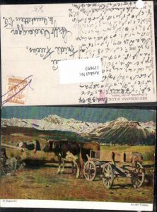 119693,G. Segantini An der Tränke Kühe Ochse Gespann Bauer