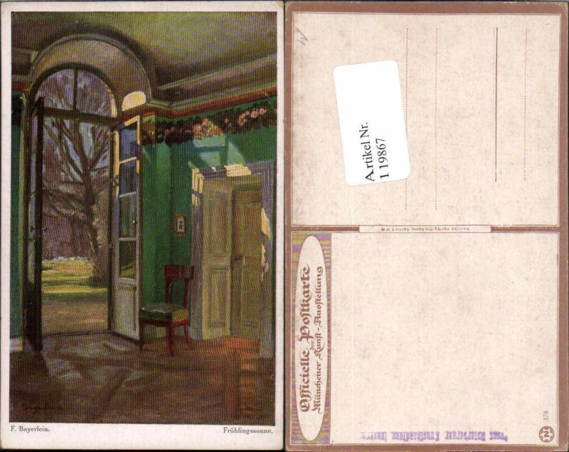 119867,F. Bayerlein Frühlingssonne Münchner Kunst Ausstellung Karte