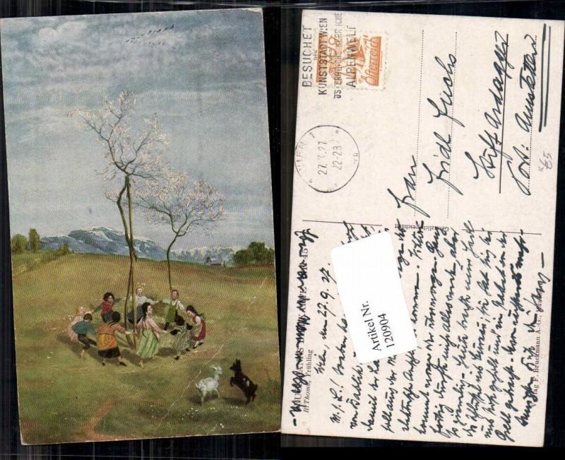 120904,H. Thoma Frühling Geislein Frauen tanzen um Baum