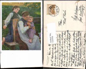 121070,tolle Künstler AK Rudolf Konopa Dorfkinder Kinder