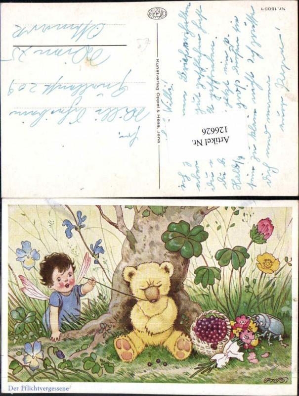 126626,Fritz Baumgarten Bär schläft unter Baum Elfe weckt ihn Käfer isst Blumen pub Oppel & Hess 1502-1