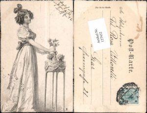 127432,Raphael Kirchner Stil Jugendstil Art Nouveau Künstlerkarte Kleid Mode Schöne Frau Edwardian Girl