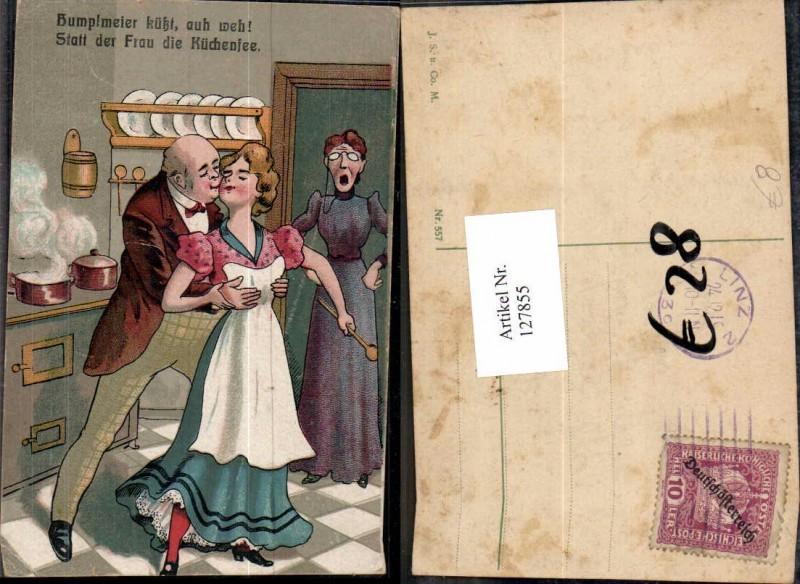 127855,Scherzkarte Juxkarte Humor Ehefrau sieht mann beim grapschen