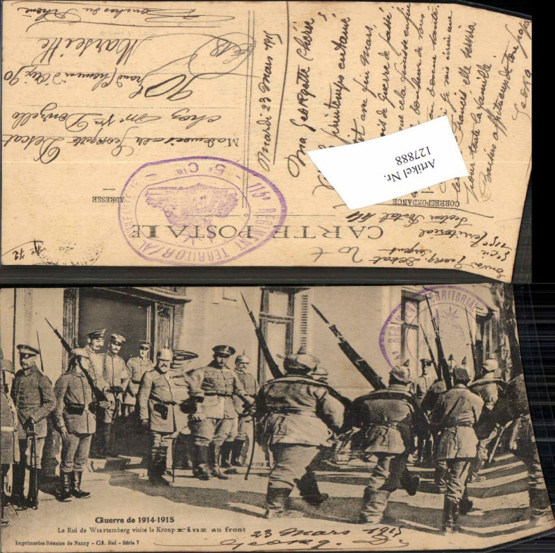 127888,Guerre de 1914 Kronprinz vön Württemberg m. Soldaten