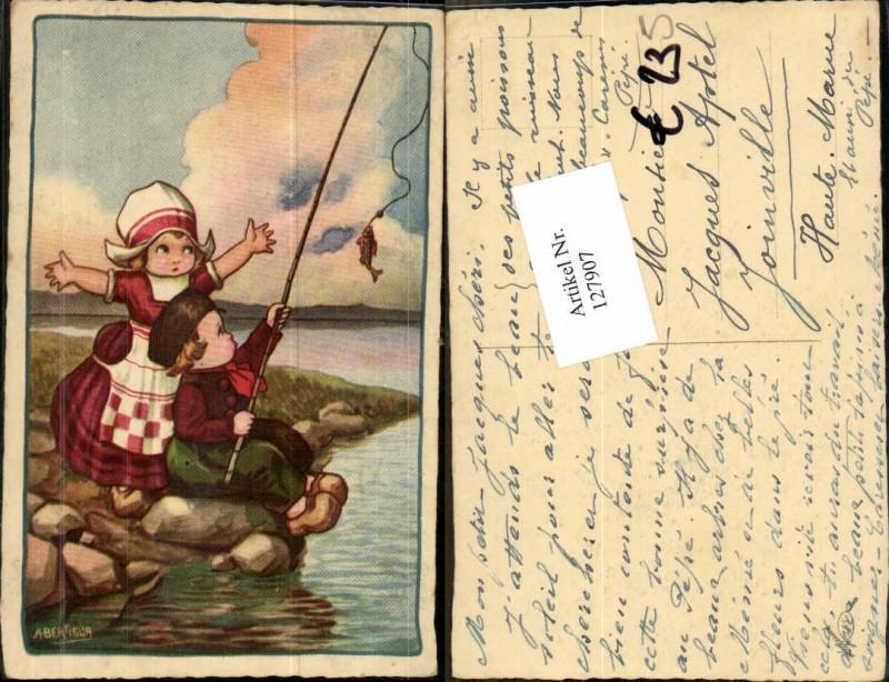 127907,A. Bertiglia Kinder beim Angeln fischen Fisch