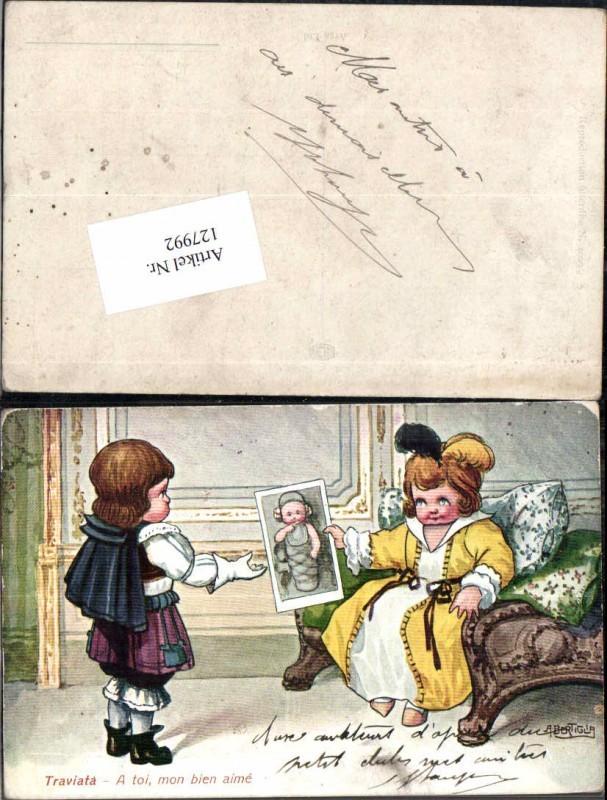 127992,A. Bertiglia Traviata Süsse Kinder Künstlerkarte