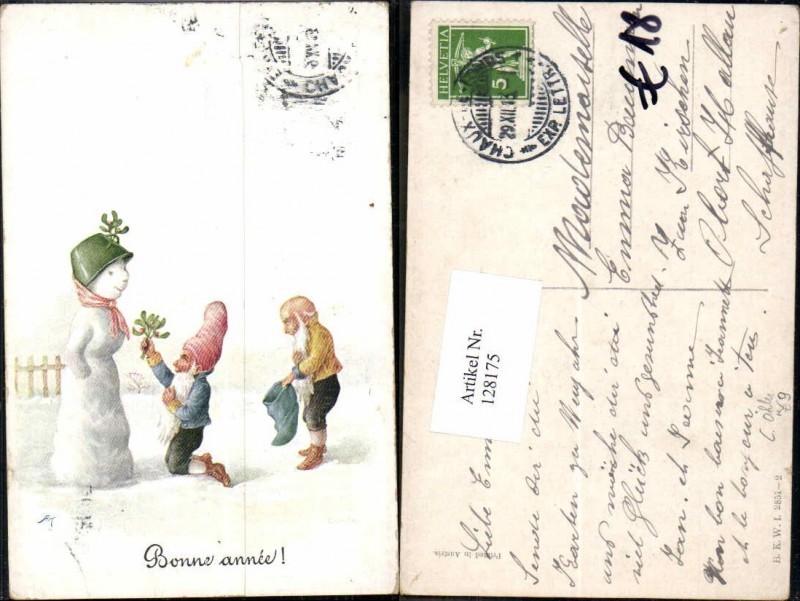 128175,C. Öhler Zwerge m. Schneemann Bonne Annee Zwerg