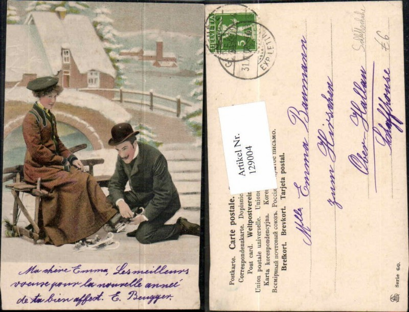 129004,Frau m. Schlittschuhe Eislaufen Mann Hut