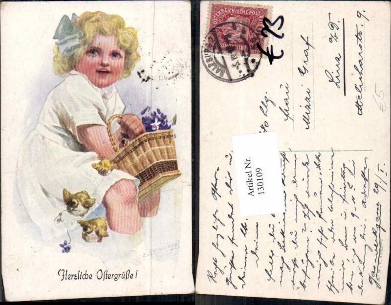 130109,E. Reckziegel Süsse Kinder Küken Kleid Korb Blumenkorb