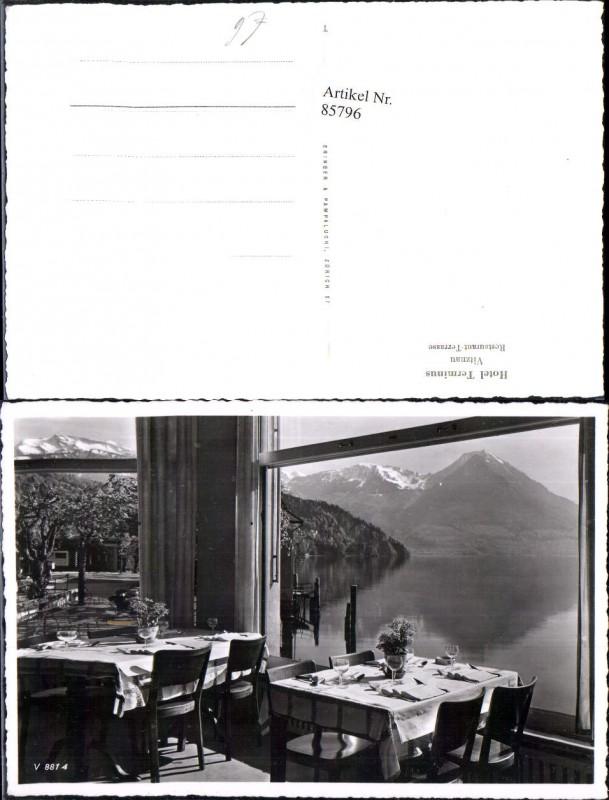 85796,Foto AK Hotel Terminus Vitznau Restaurant Terrasse Kt Luzern