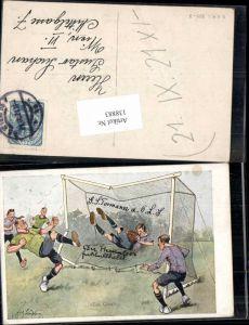 138883,Fritz Schönpflug Karikatur Sport Fussball Soccer Ein Goal Humor Künstler AK