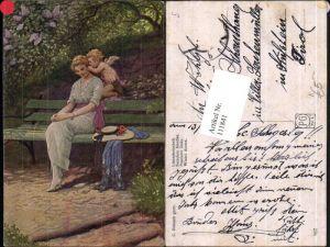 111841,Künstlerkarte C Benesch Frau auf Bank Engel flüstert ins Ohr
