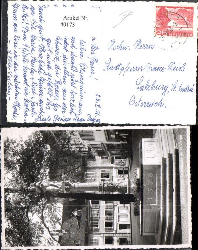 40173,Delémmont  La Fontaine de la Vierge Brunnen 1956 Kt Jura