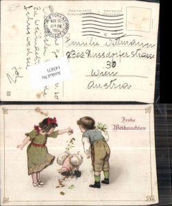 145871,Weihnachten Süsse Kinder Ferkel Schwein m. Geldsack Geld Münzen