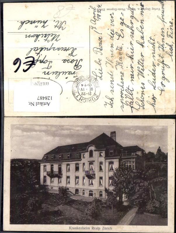 128487,Zürich Krankenheim Realp Ansicht 1924 Kt. Zürich