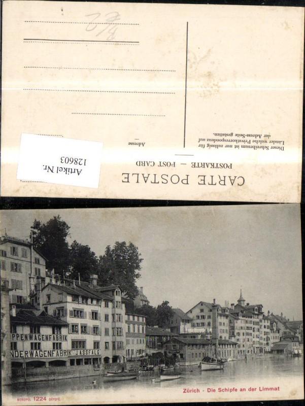 128603,Zürich Schipfe a. d. Limmat Ansicht Schiffe Boote Kt. Zürich