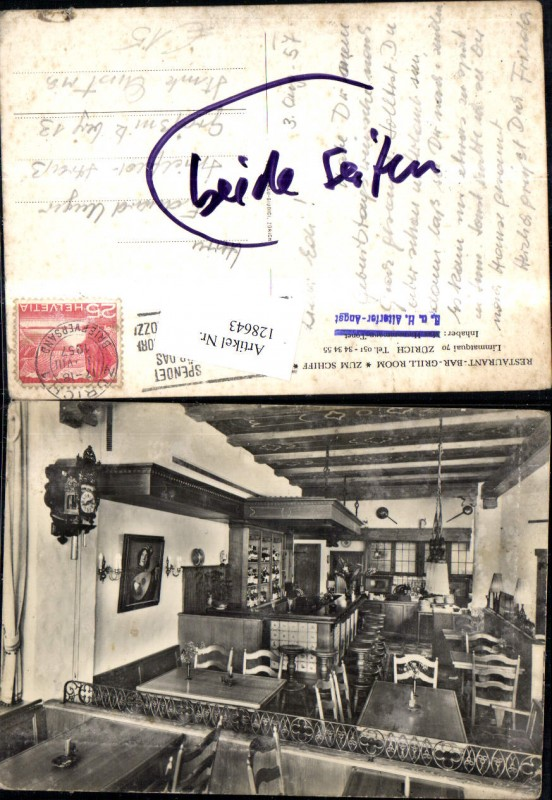 128643,Zürich Restaurant Bar Grill Room Zum Schiff Innenansicht 1957  Kt. Zürich