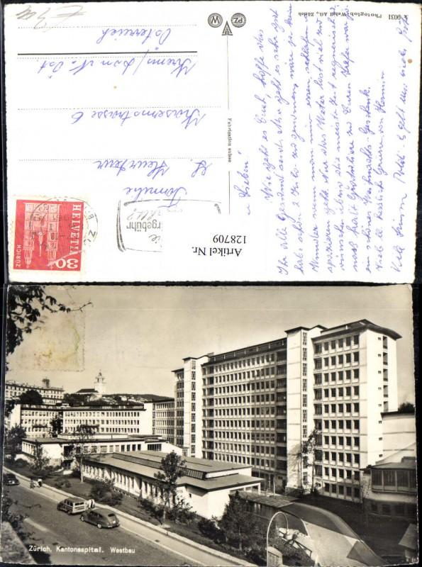 128709,Zürich Kantonspital Westbau Ansicht 1961  Kt. Zürich