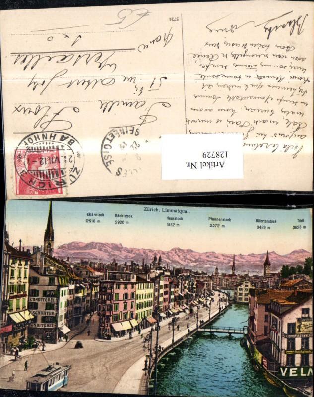 128729,Zürich Limmatquai Ansicht Strassenbahn Brücke 1912 Kt. Zürich