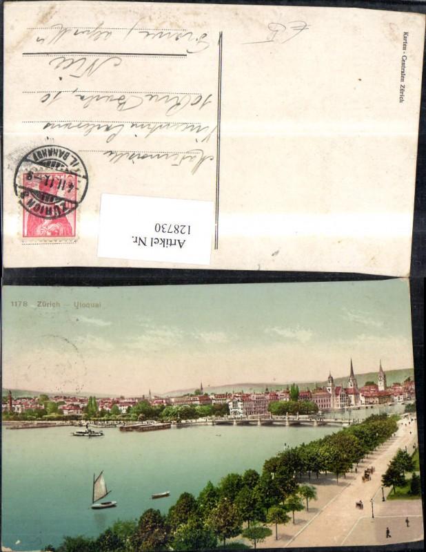 128730,Zürich Utoquai Ansicht Segelboot 1911 Kt. Zürich