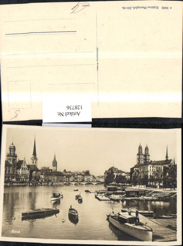 128736,Zürich Ansicht Hafen Boote Kt. Zürich