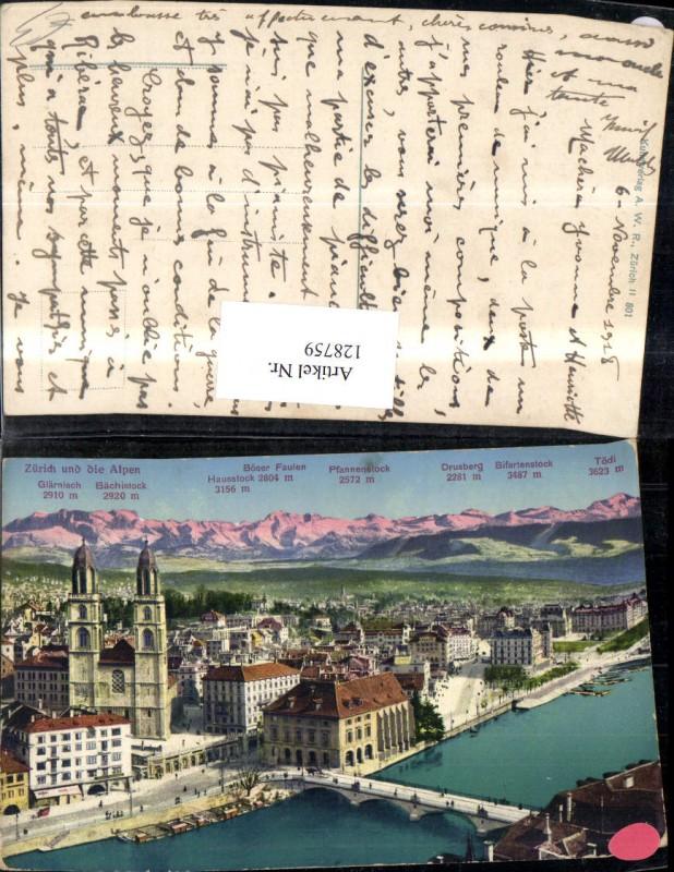 128759,Zürich u. d. Alpen Gipfelkarte Ansicht 1918 Kt. Zürich
