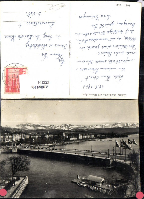 128814,Zürich Quaibrücke m. Glarneralpen 1963 Kt. Zürich