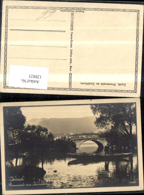 128823,Zürich Promenade a. Zürichhorn Ansicht Brücke Boot m. Mann Kt. Zürich