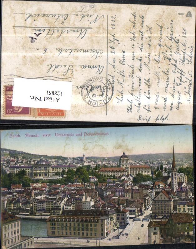 128851,Zürich Altstadt m. Universität u. Polytechnikum 1922 Kt. Zürich