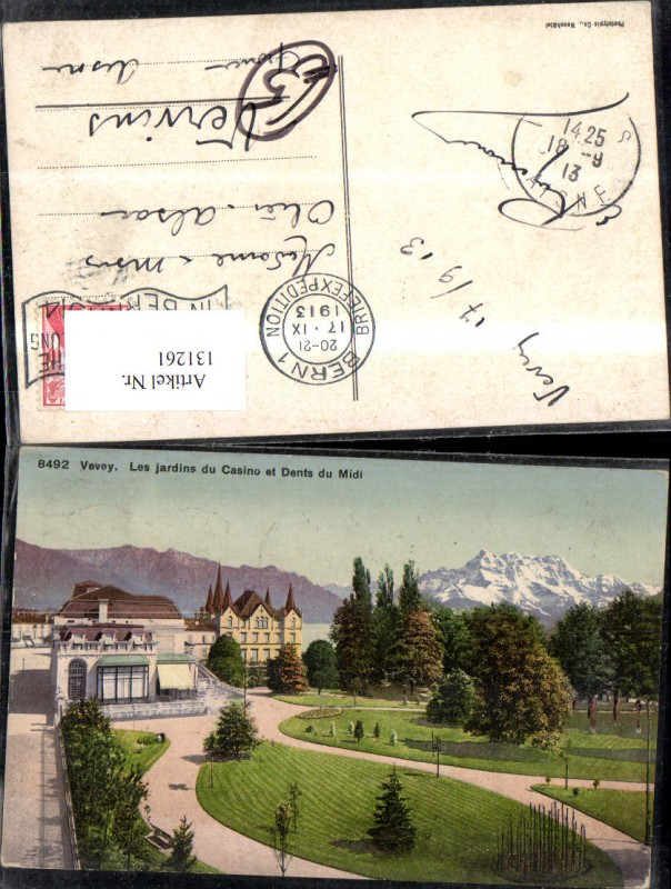 131261,Vevey Les jardins du Casino et Dents du Midi Ansicht Gartenanlage Casino 1913 Kt. Waadt