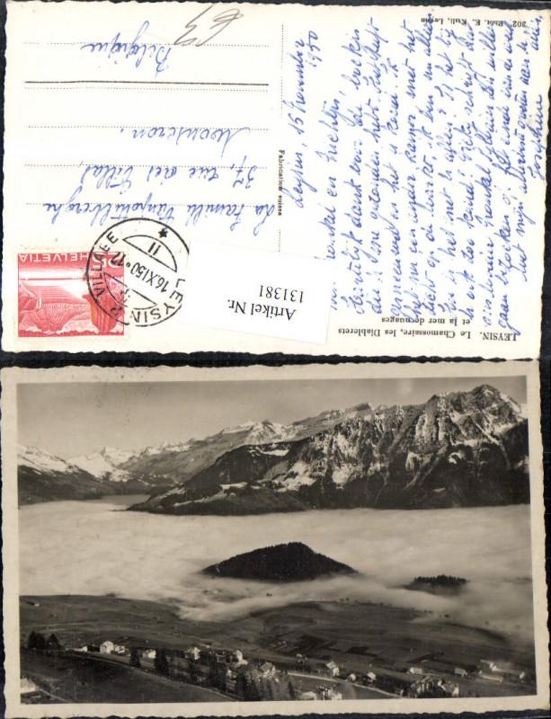 131381,Leysin Le Chamossaire les Diablerets et le mer de nueges Ansicht m. Nebel 1950 Kt. Waadt