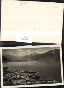 131388,Vevey Le Lac et les Dents du Midi vu du Mont Pelerin Ansicht Kt. Waadt