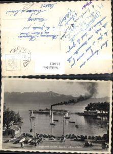 131421,Lausanne Ouchy le port et la Dent d Oche Ansicht Hafen Schiff Dampfer Segelboote Kt. Waadt