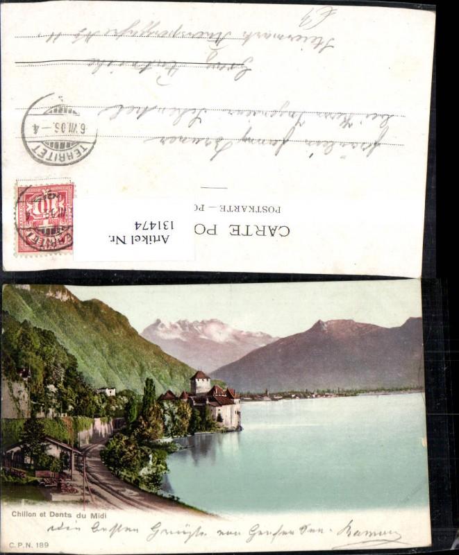 131474,Chillon et Dents du Midi Ansicht m. Schloss 1906 Kt. Waadt