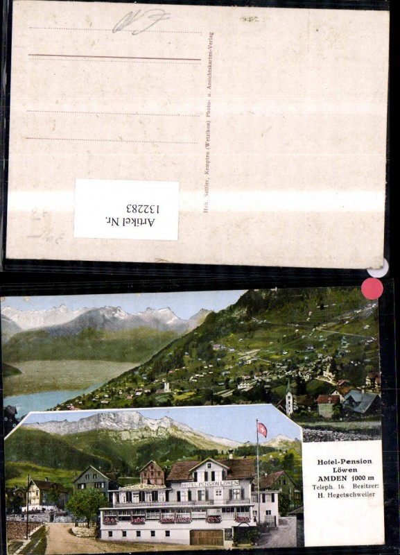 132283,Amden Hotel Pension Löwen Bes H. Hegetschweiler MehrbildAk Kt. St Gallen