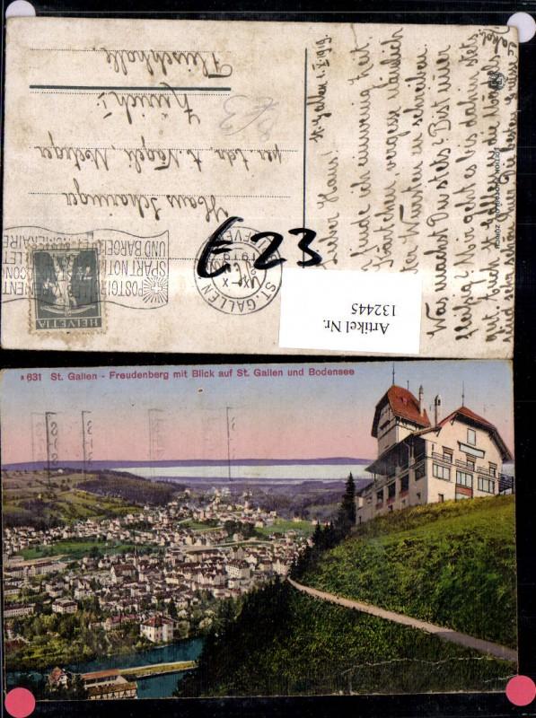 132445,St Gallen Freudenberg m. Blick auf St Gallen u. Bodensee Ansicht 1919 Kt. St Gallen