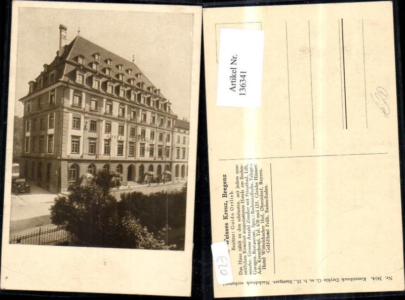 136341,Foto AK Hotel Weisses Weißes Kreuz in Bregenz Detailansicht