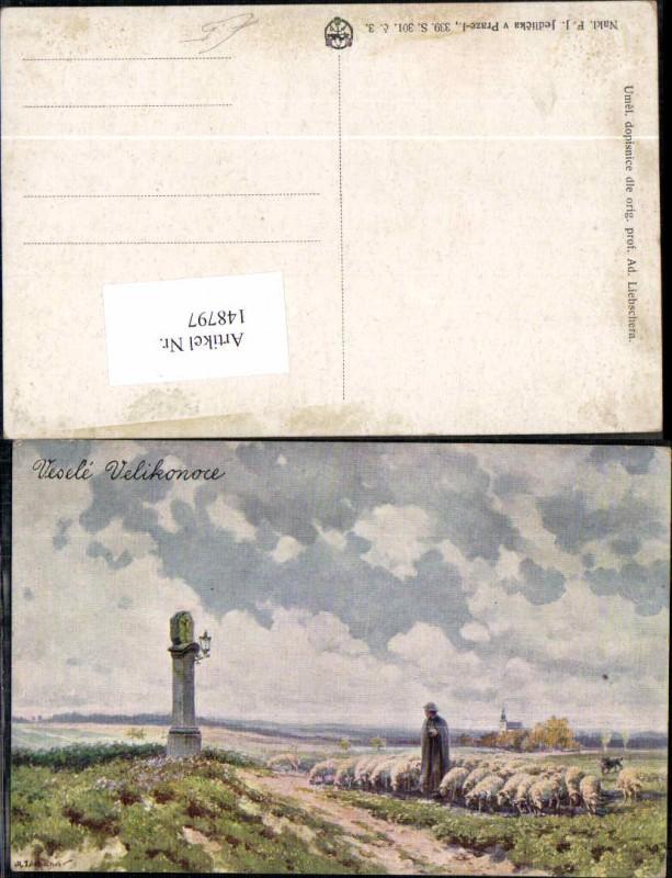 148797,Schaf Schäfer Künstlerkarte Adolf Liebscher