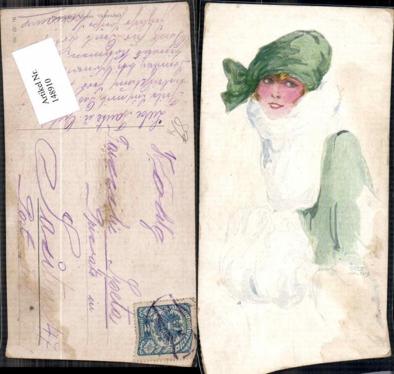 148910,Künstlerkarte Gret Kalous Frau Glamour Glamur