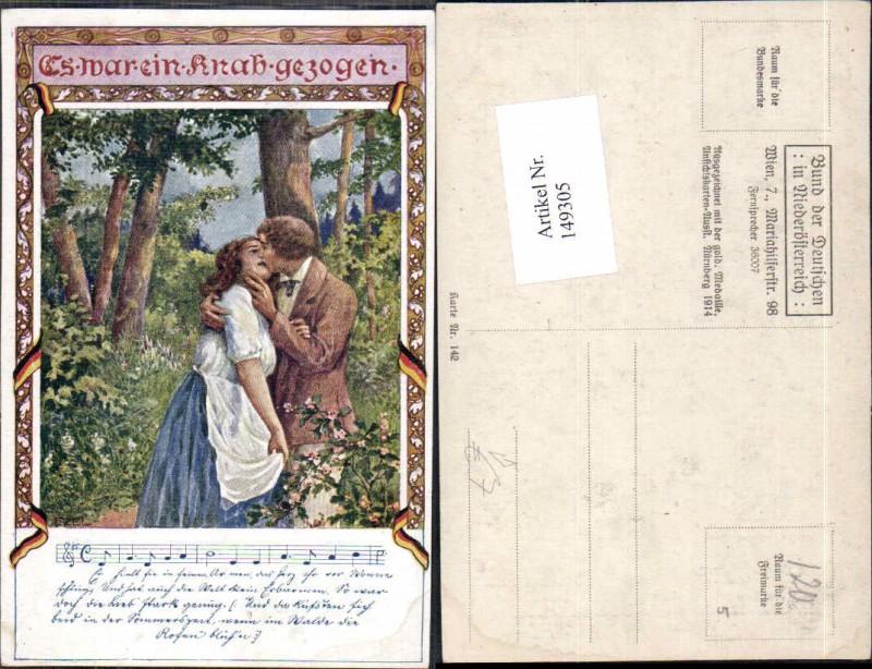 149305,Bund d. deutschen in Niederösterreich 142 Ezel signiert Mann küsst Frau
