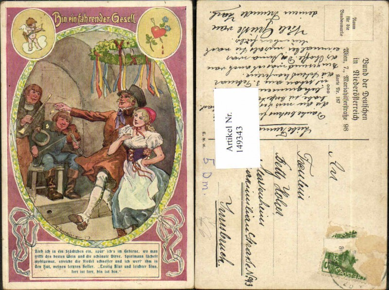 149343,Bund d. deutschen in Niederösterreich 187 F. Gareis Fahrender Gesell