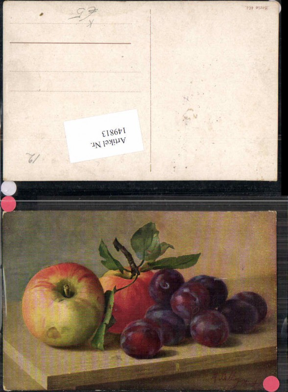 149813,Stilleben Stillleben Apfel Äpfel Zwetschken M. Billing signiert