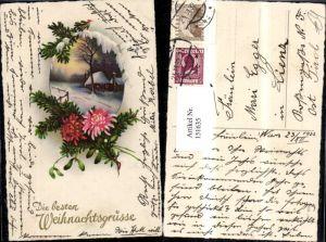 151635,Weihnachten Winterlandschaft Haus i. Rahmen m. Tannenzweig Blume verziert Glitzerschrift